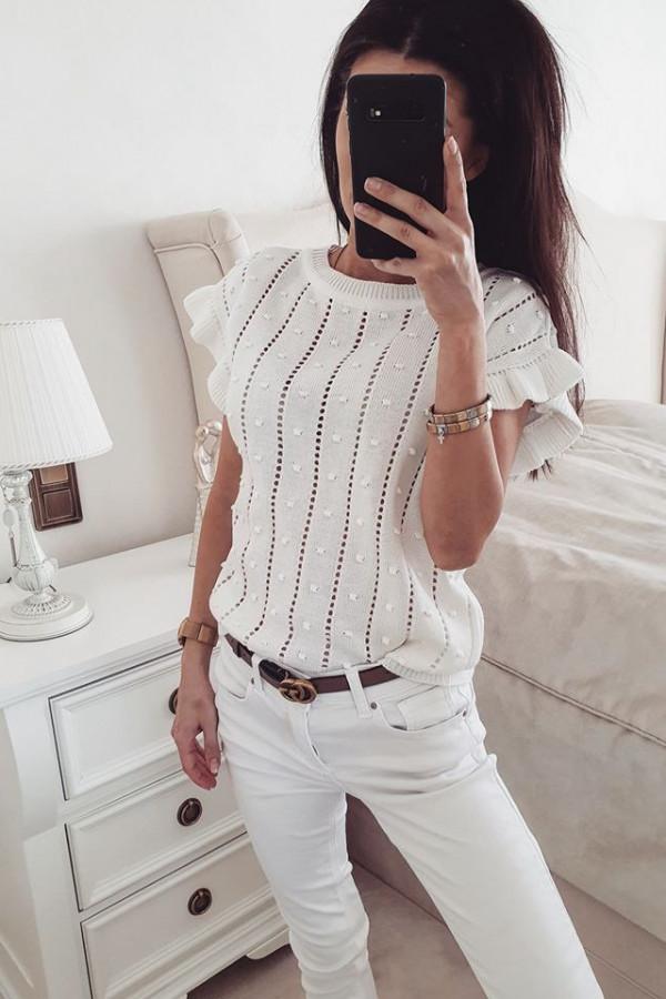 Sweterek motylek biały