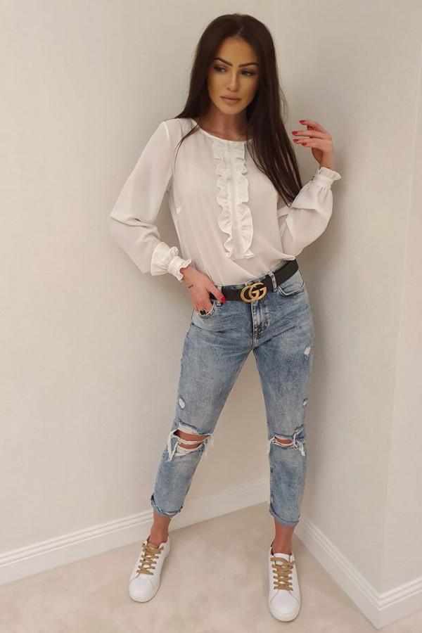 Bluzeczka żabot biała