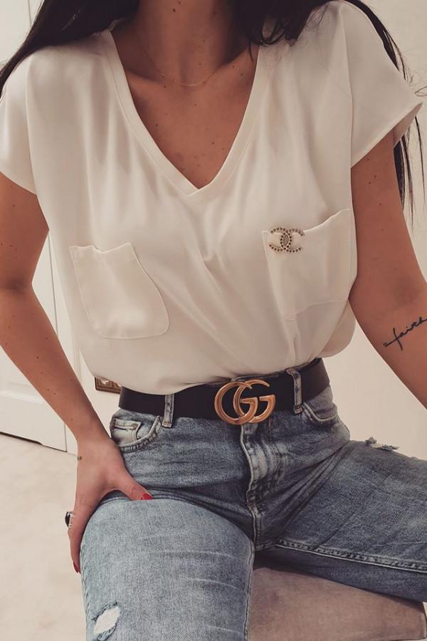 Bluzka z kieszonkami biała