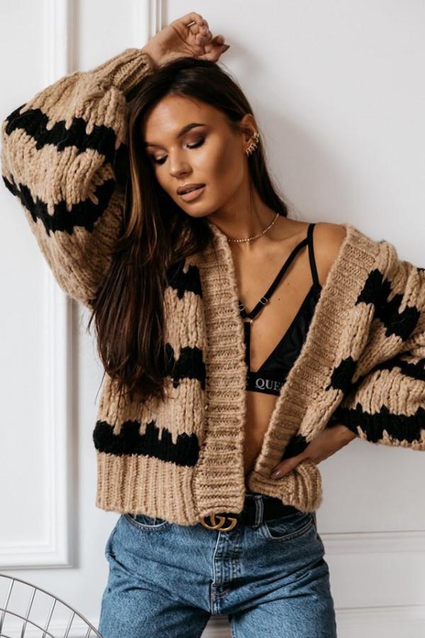 Sweter zebra stripes beżowy 3