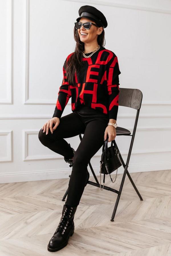 Sweter Alpha White czerwony
