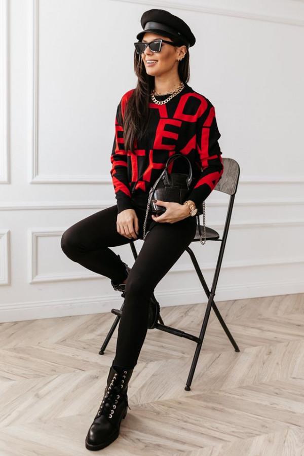 Sweter Alpha White czerwony 1