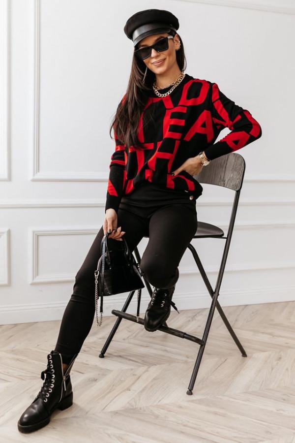 Sweter Alpha White czerwony 2