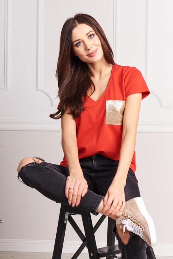Bluzka z kieszonką czerwona