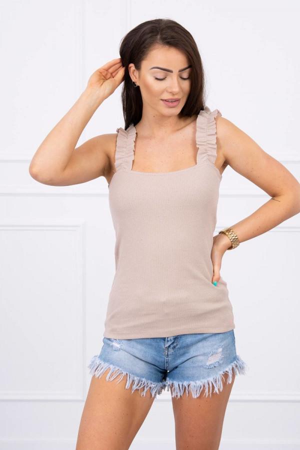 Bluzka z falbankami na ramiączkach beżowa