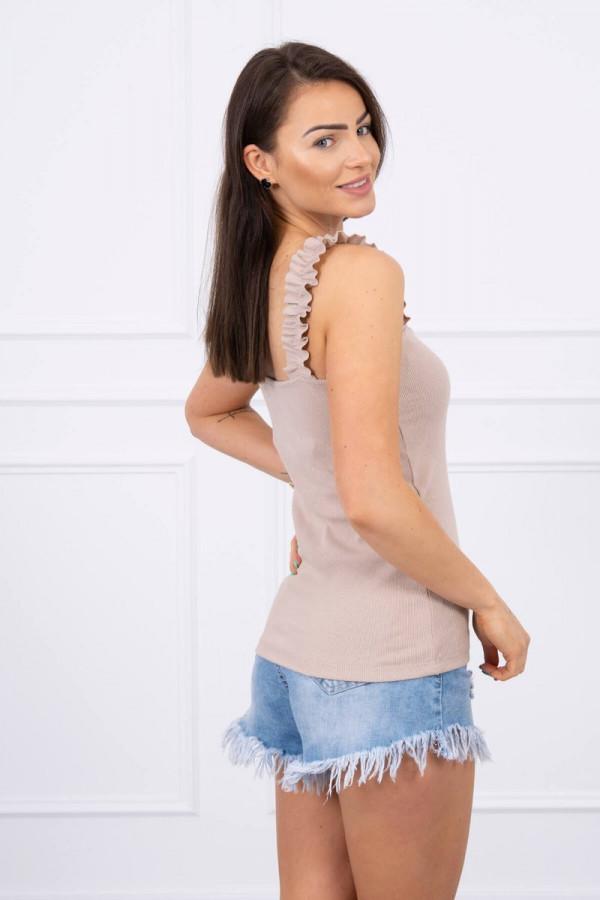 Bluzka z falbankami na ramiączkach beżowa 1