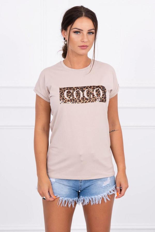 Bluzka z krótkim rękawem Coco beżowa