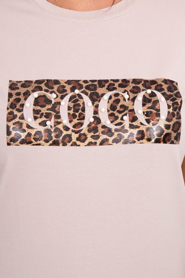 Bluzka z krótkim rękawem Coco beżowa 2