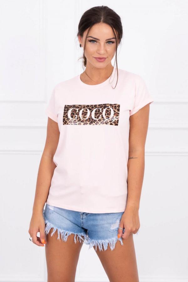 Bluzka z krótkim rękawem Coco pudrowy róż