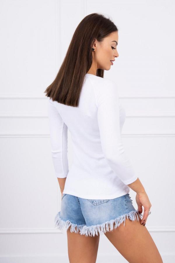Bluzka z ozdobnymi guzikami biała 1