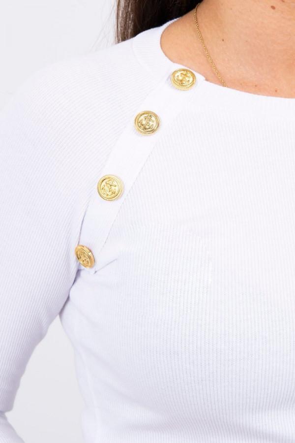 Bluzka z ozdobnymi guzikami biała 2