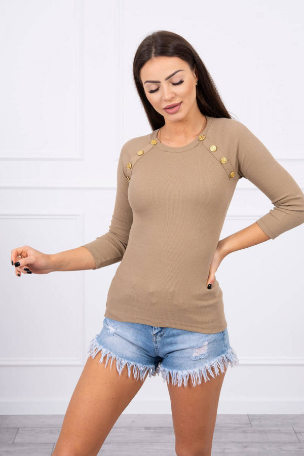 Bluzka z ozdobnymi guzikami camelowa