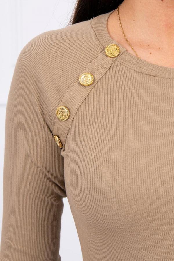 Bluzka z ozdobnymi guzikami camelowa 2