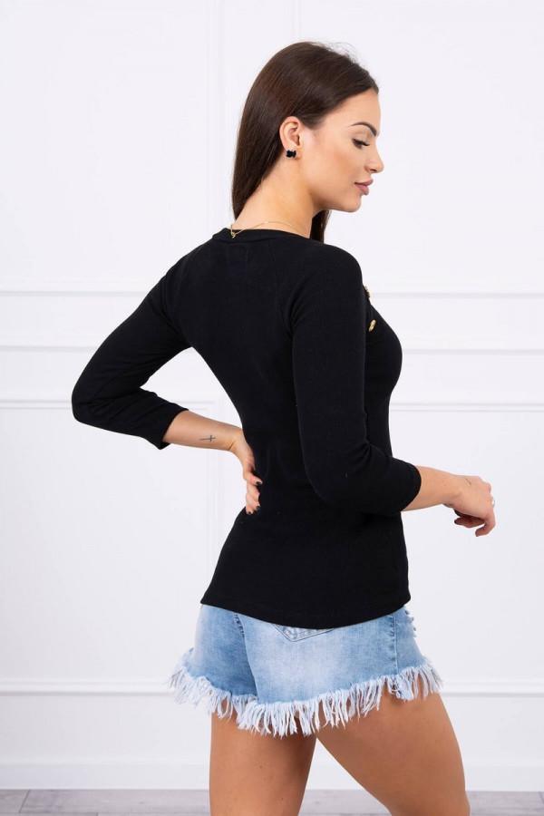 Bluzka z ozdobnymi guzikami czarna 1