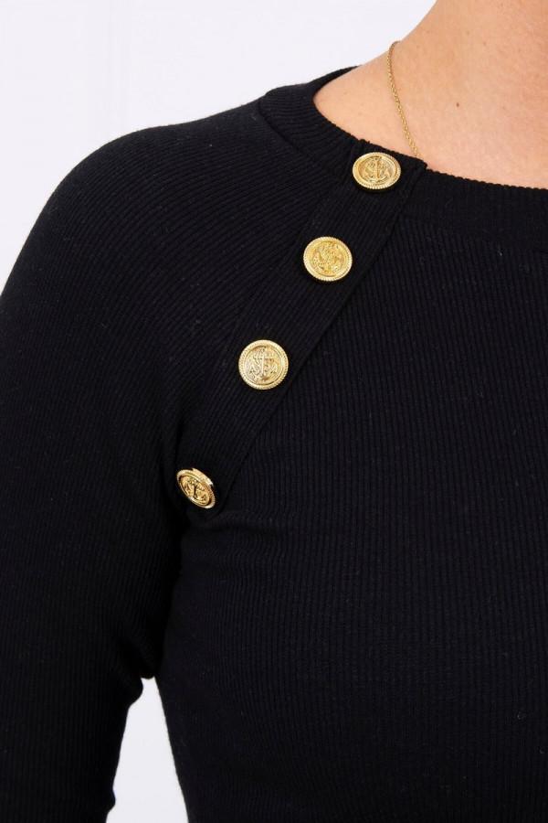 Bluzka z ozdobnymi guzikami czarna 2