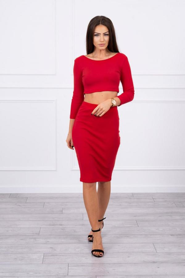 Komplet bluzki z spódniczką czerwony