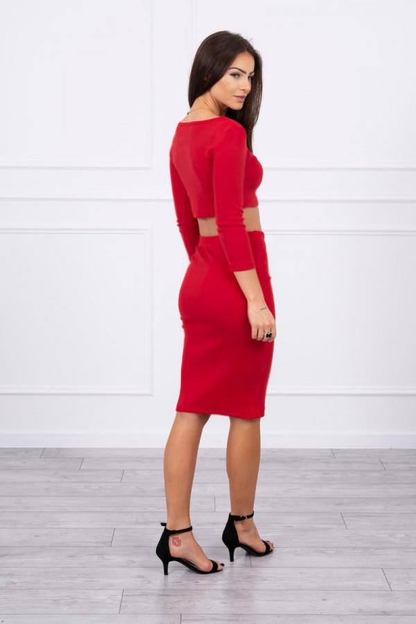 Komplet bluzki z spódniczką czerwony 2
