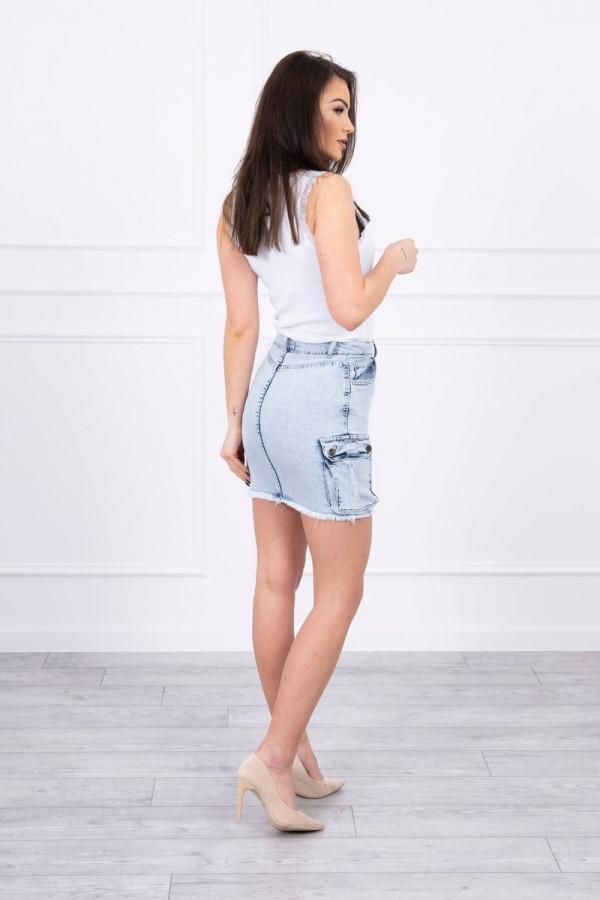 Spódniczka jeansowa z kieszeniami na bokach 1