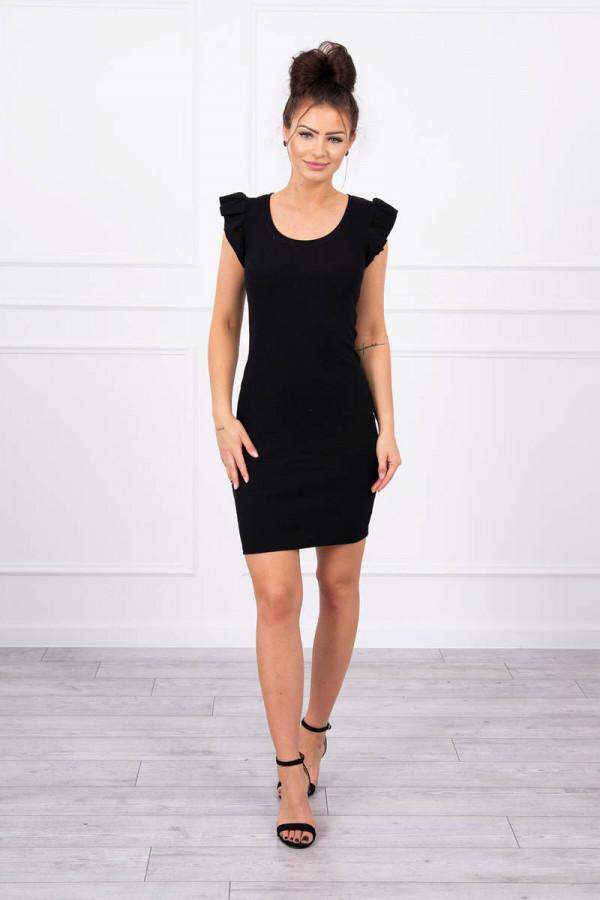 Sukienka z falbanką przy rękawie czarna