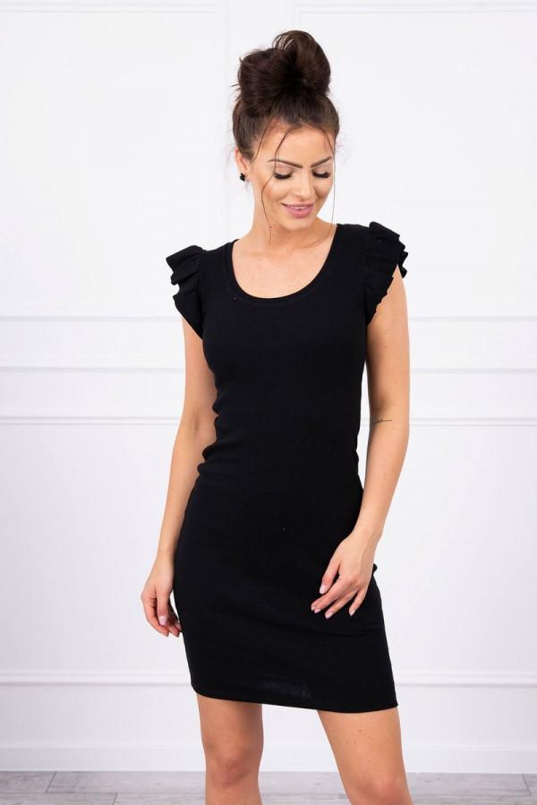 Sukienka z falbanką przy rękawie czarna 2