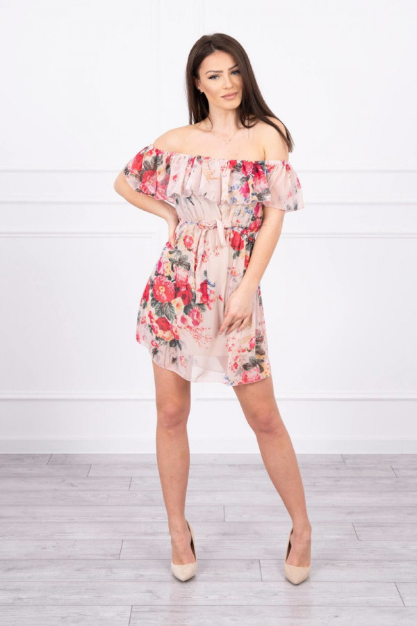 Sukienka z odkrytymi ramionami w kwiaty - beżowa