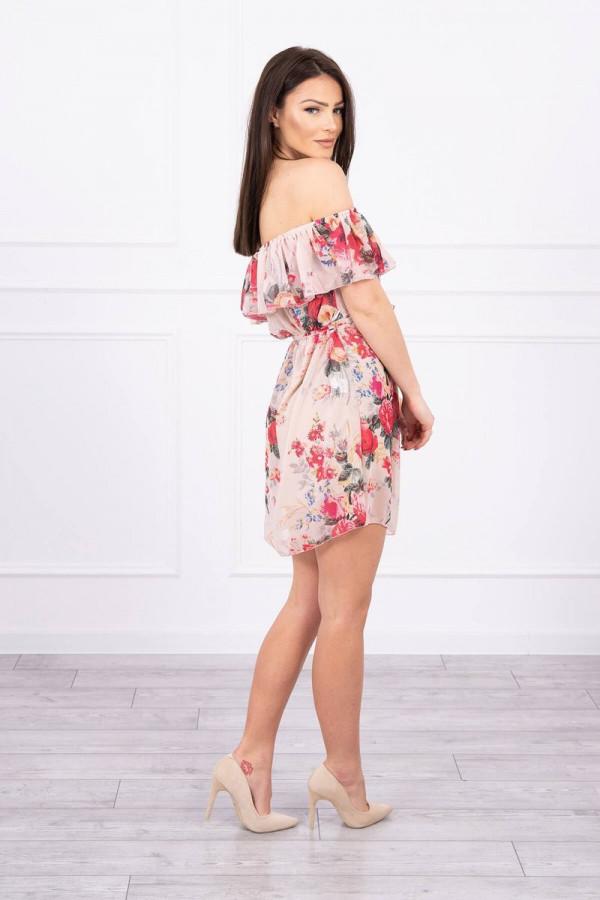 Sukienka z odkrytymi ramionami w kwiaty - beżowa 1