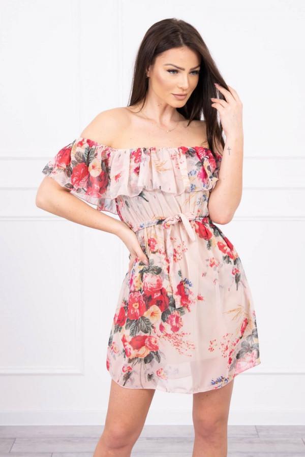 Sukienka z odkrytymi ramionami w kwiaty - beżowa 2