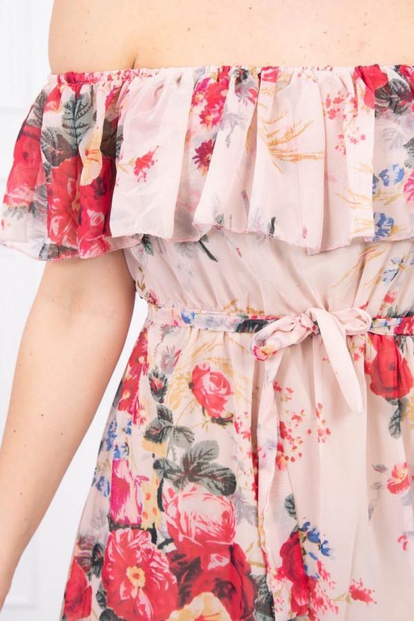 Sukienka z odkrytymi ramionami w kwiaty - beżowa 3