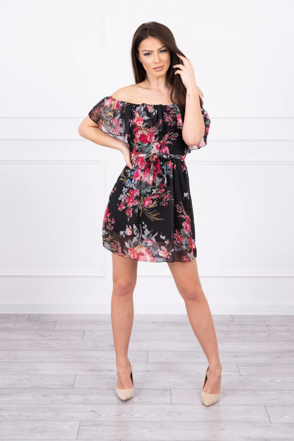 Sukienka z odkrytymi ramionami w kwiaty - czarna