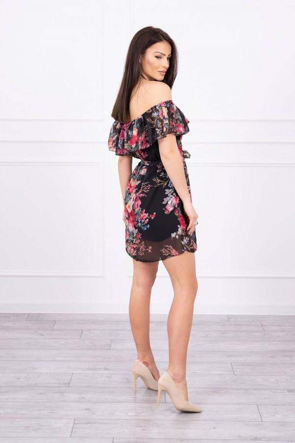 Sukienka z odkrytymi ramionami w kwiaty - czarna 1