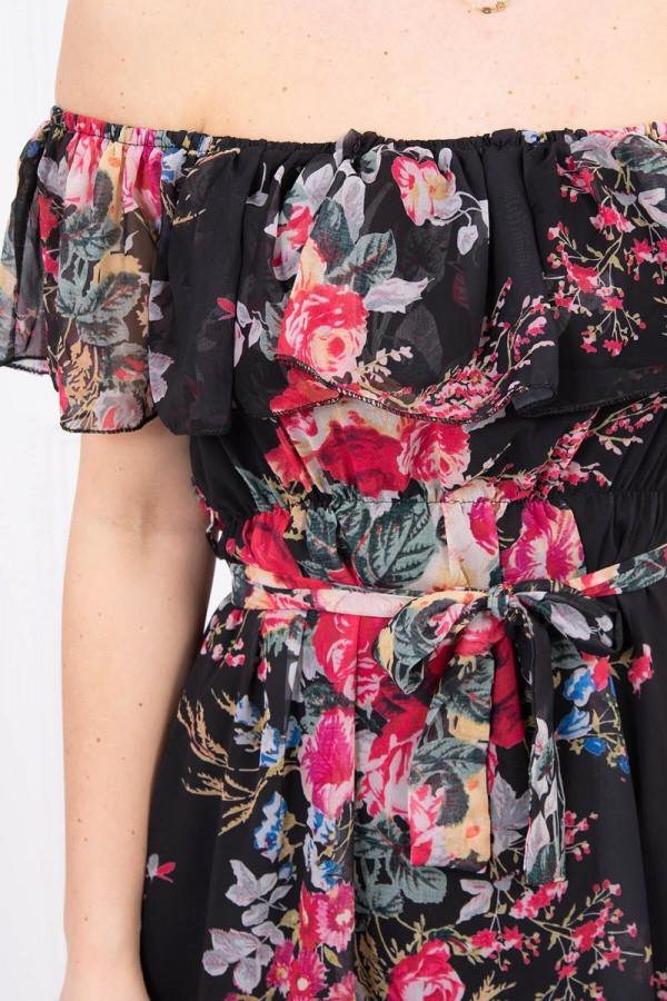 Sukienka z odkrytymi ramionami w kwiaty - czarna 3