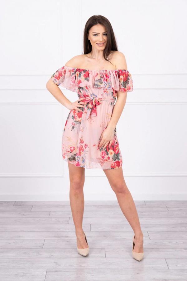 Sukienka z odkrytymi ramionami - pudrowy róż