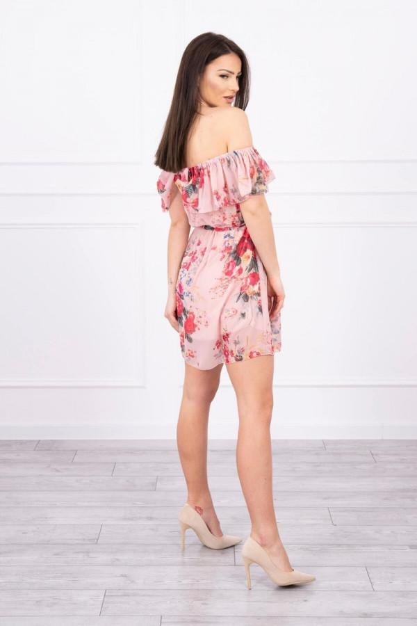 Sukienka z odkrytymi ramionami - pudrowy róż 1