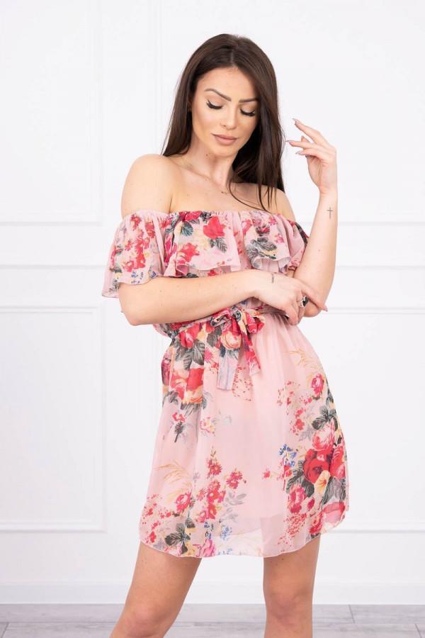 Sukienka z odkrytymi ramionami - pudrowy róż 2