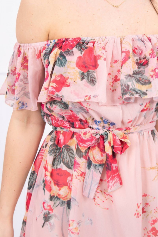 Sukienka z odkrytymi ramionami - pudrowy róż 3