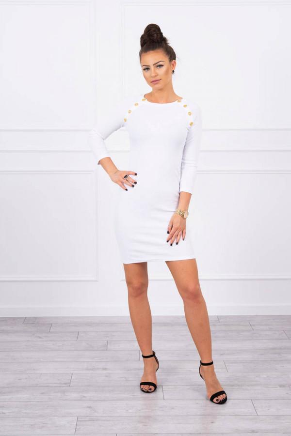 Sukienka z ozdobnymi guzikami biała