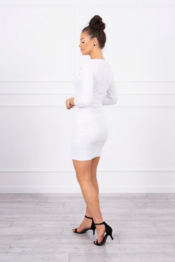 Sukienka z ozdobnymi guzikami biała 1