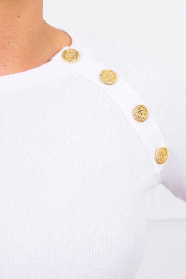 Sukienka z ozdobnymi guzikami biała 2