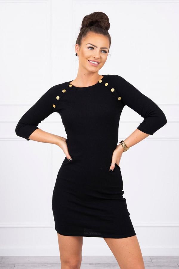 Sukienka z ozdobnymi guzikami czarna