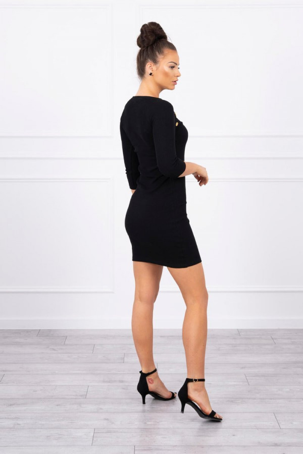 Sukienka z ozdobnymi guzikami czarna 1