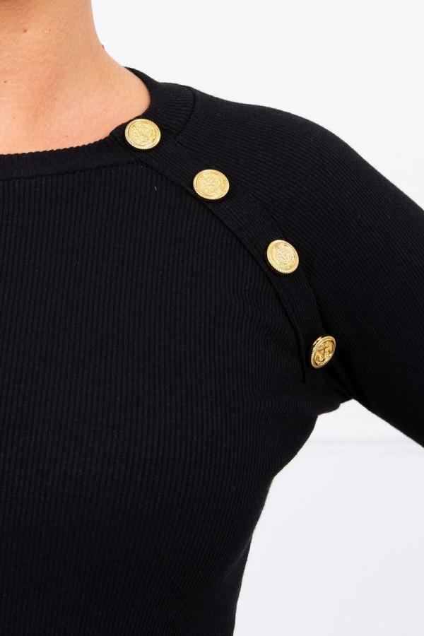 Sukienka z ozdobnymi guzikami czarna 2