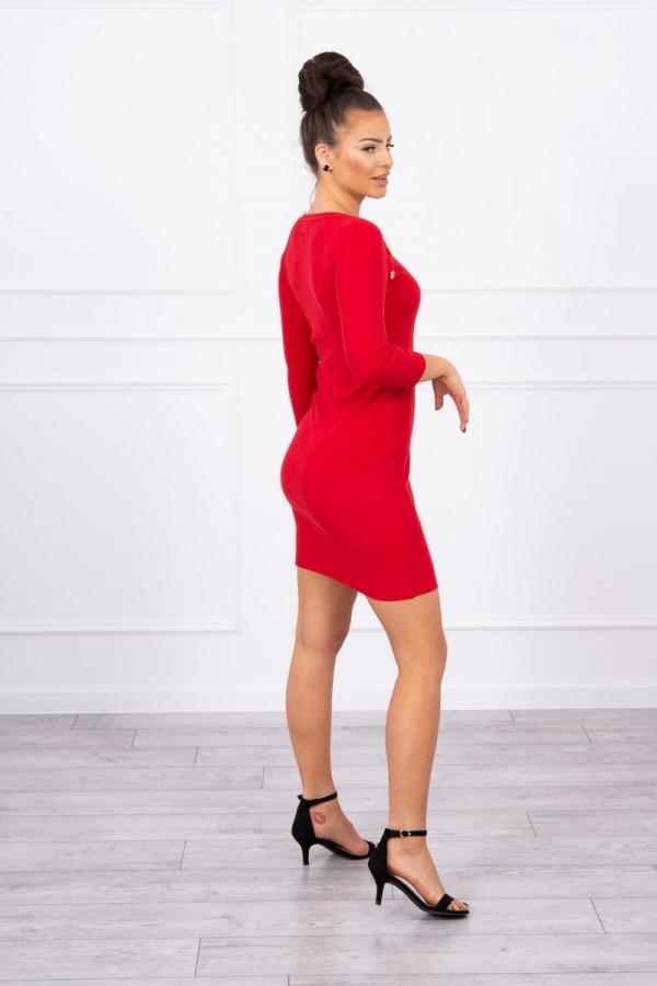 sukienka z ozdobnymi guzikami czerwona 1