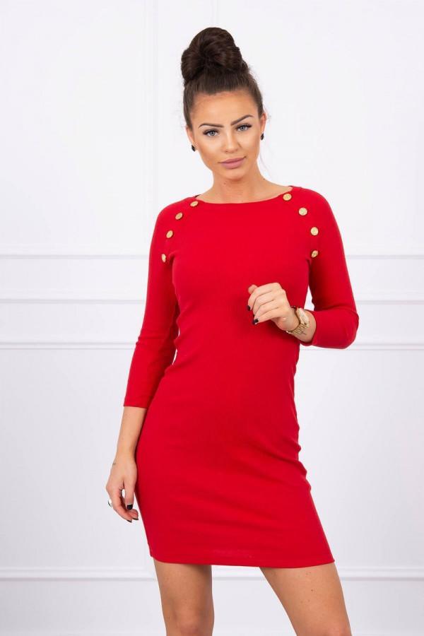 sukienka z ozdobnymi guzikami czerwona