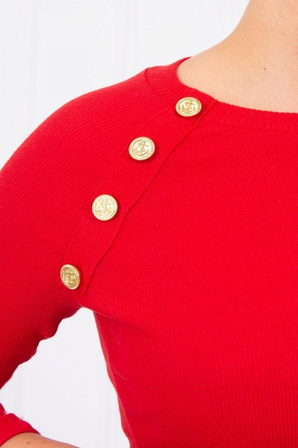 sukienka z ozdobnymi guzikami czerwona 2