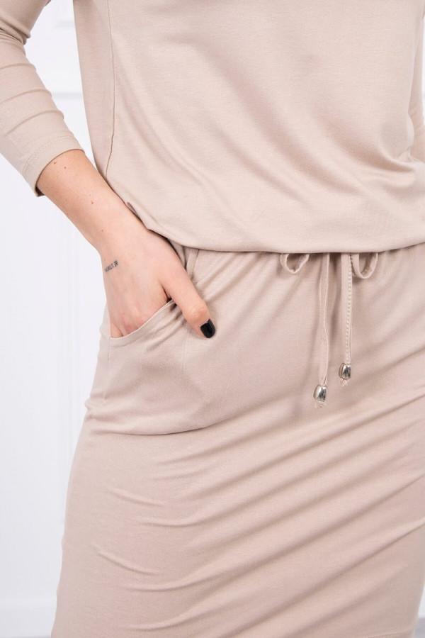 Sukienka z wiskozy wiązana w talii beżowa 1