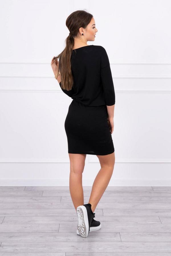 Sukienka z wiskozy wiązana w talii czarna 2