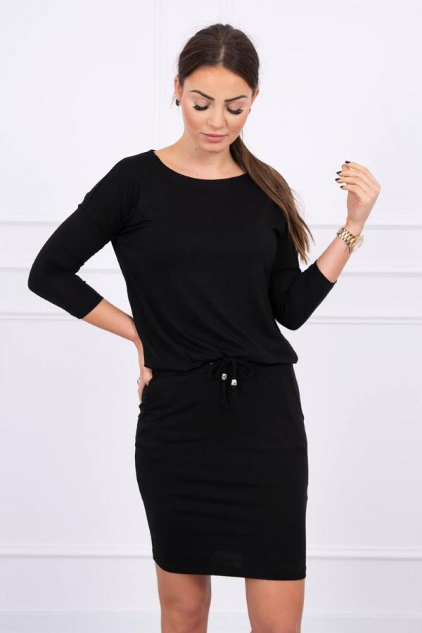 Sukienka z wiskozy wiązana w talii czarna