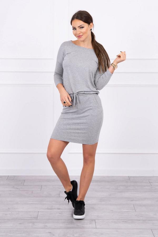 Sukienka z wiskozy wiązana w talii szara 1