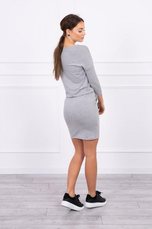 Sukienka z wiskozy wiązana w talii szara 3