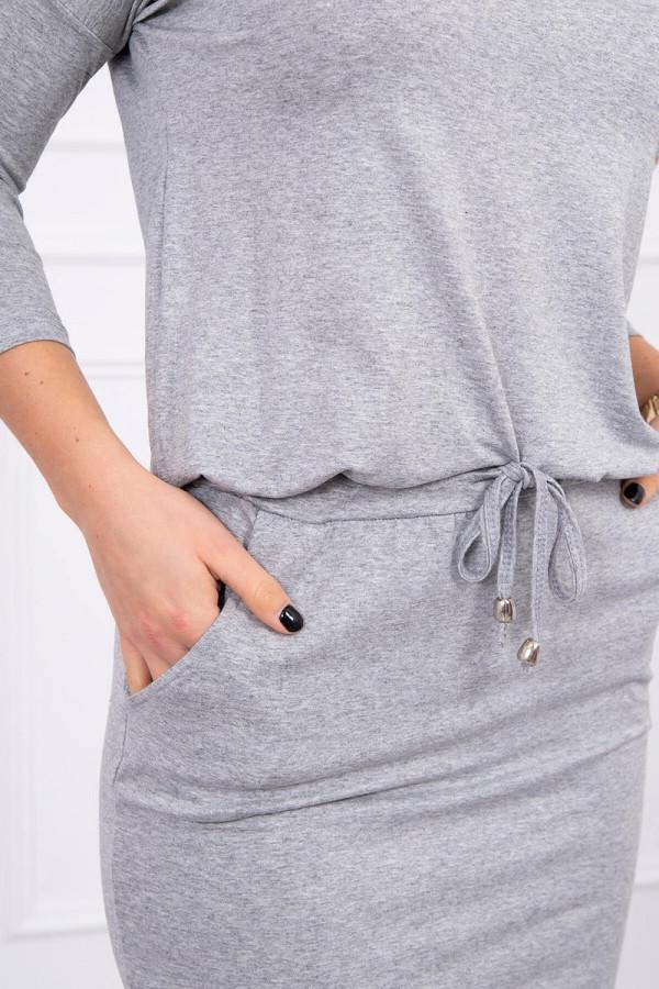 Sukienka z wiskozy wiązana w talii szara 2